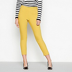 J by Jasper Conran - Yellow tapered leg cotton smart ankle trousers