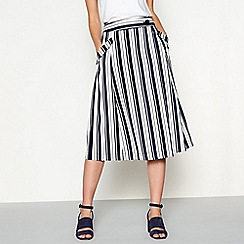 J by Jasper Conran - Ivory striped button fastening A-line midi skirt
