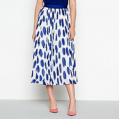 J by Jasper Conran - Bright blue spot print pleated skirt
