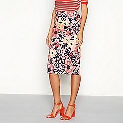 J by Jasper Conran - Pink floral print cotton blend knee length pencil skirt