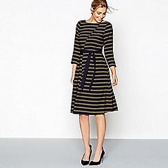 J by Jasper Conran - Navy asymmetric stripe knee length dress