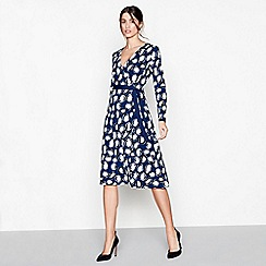 J by Jasper Conran - Navy spot print long sleeves wrap dress