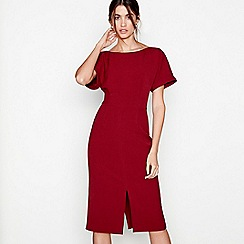 J by Jasper Conran - Dark red boat neck short sleeves shift dress