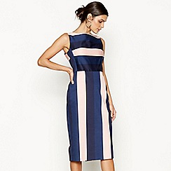 J by Jasper Conran - Navy and pink striped wiggle dress