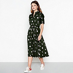 J by Jasper Conran - Green broken spot cotton shirt dress