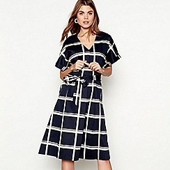 J by Jasper Conran - Navy check print cotton blend V-neck short sleeve midi shift dress