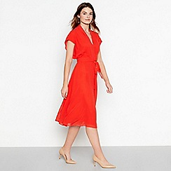 J by Jasper Conran - Red V-neck tie waist midi dress