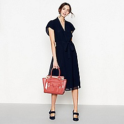J by Jasper Conran - Navy v-neck tie waist midi dress
