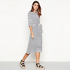 J by Jasper Conran - Ivory stripe print round neck midi dress
