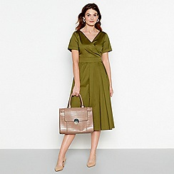 J by Jasper Conran - Olive cotton v-neck midi wrap dress