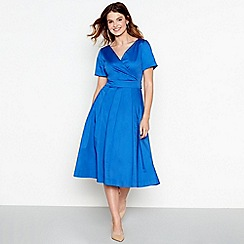 J by Jasper Conran - Pale blue cotton V-neck midi wrap dress