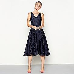 J by Jasper Conran - Navy organza spot sleeveless midi length evening dress
