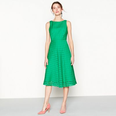 J by Jasper Conran Bright green circle broderie knee length fit and ...