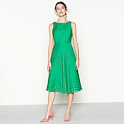 J by Jasper Conran - Bright green circle broderie knee length fit and flare dress