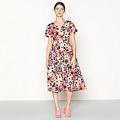 J by Jasper Conran - Pink floral print cotton blend V-neck short sleeve midi wrap dress
