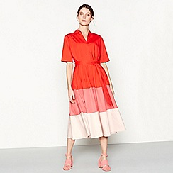 J by Jasper Conran - Red colour block cotton blend short sleeve midi shirt dress