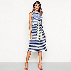J by Jasper Conran - Navy striped V-neck midi fit and flare dress