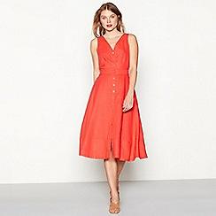 J by Jasper Conran - Coral linen button through V-neck sleeveless midi dress