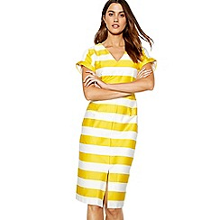 J by Jasper Conran - Bright yellow stripe print short sleeve wiggle dress