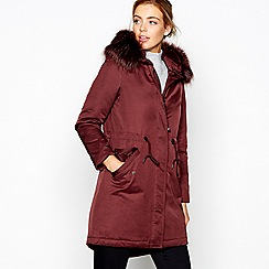 J by Jasper Conran - Dark red quilted parka