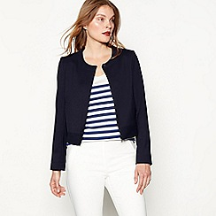 J by Jasper Conran - Navy collarless long sleeve cropped jacket