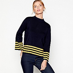 J by Jasper Conran - Navy long sleeves stripe hem jumper