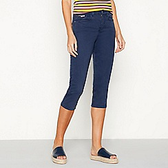 J by Jasper Conran - Navy cotton blend slim fit cropped trousers