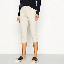 J by Jasper Conran - Natural cotton blend slim fit cropped trousers