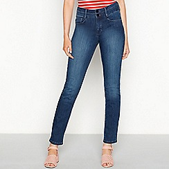 J by Jasper Conran - Dark blue 'Lift and Shape' high waisted straight leg jeans