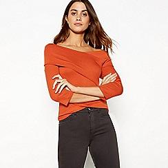 J by Jasper Conran - Dark orange wrap over Bardot neck long sleeve top