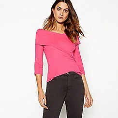 J by Jasper Conran - Bright pink wrap over Bardot neck long sleeve top