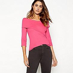26e49faddb506 J by Jasper Conran - Bright pink wrap over Bardot neck long sleeve top