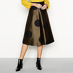 J by Jasper Conran - Dark gold spot jacquard A-line skirt
