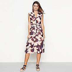 J by Jasper Conran - Navy floral print chiffon 'Sienna' V-neck midi dress