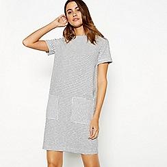 J by Jasper Conran - Ivory pocket stripe print round neck short sleeve mini dress