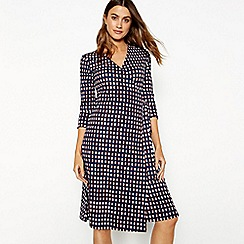 J by Jasper Conran - Navy dash print V-neck knee length wrap dress