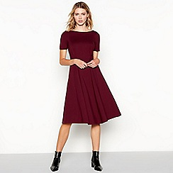 J by Jasper Conran - Wine seamed short sleeve ponte midi dress