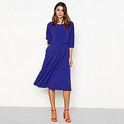 J by Jasper Conran - Lilac batwing round neck fit and flare midi dress