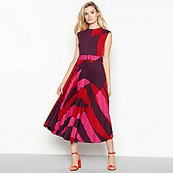 J by Jasper Conran - Multicoloured bulls eye print pleated midi dress