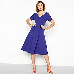 J by Jasper Conran - Blue seamed ponte short sleeve midi dress