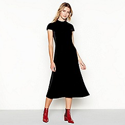 J by Jasper Conran - Black velvet short sleeve midi dress