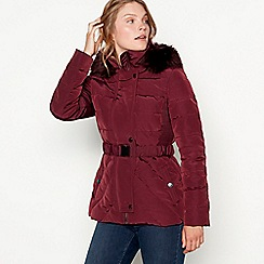 J by Jasper Conran - Wine red belted padded down jacket