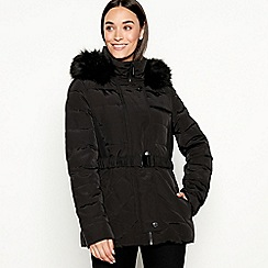 J by Jasper Conran - Black fur hood short padded coat