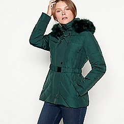 J by Jasper Conran - Green belted padded down jacket
