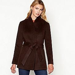J by Jasper Conran - Chocolate short wrap wool blend coat