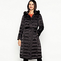 J by Jasper Conran - Black Quilted Feather and Down Hooded Coat