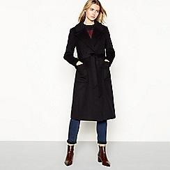 J by Jasper Conran - Black long wrap wool coat