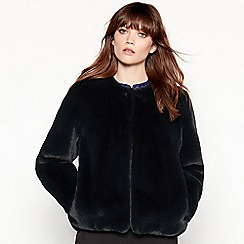 J by Jasper Conran - Dark green faux fur coat