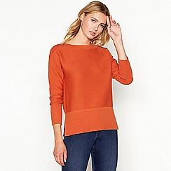 J by Jasper Conran - Orange button shoulder wool blend jumper