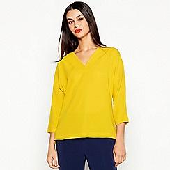 J by Jasper Conran - Yellow Plain V-Neck Top